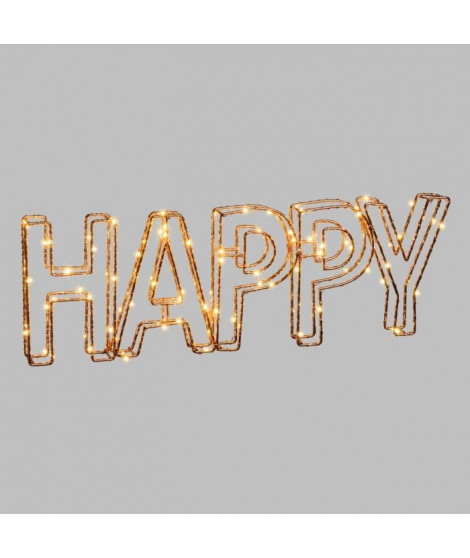 LOTTI Ecriture Happy 3D en fil métal 46x15 cm - 78 micro-LED Ø 1,5mm - Cuivre brillant - Transformateur 3,5 V fourni