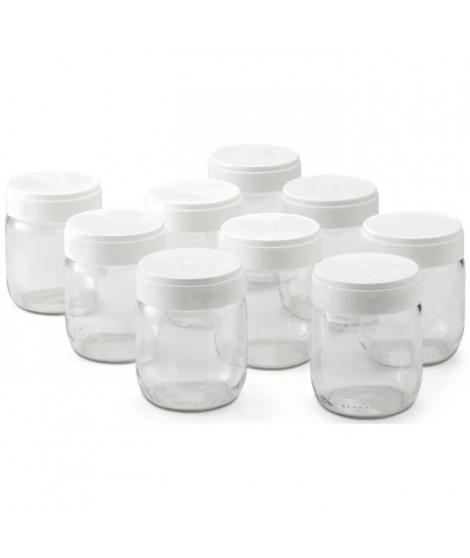 LAGRANGE Lot de 9 pots yaourtiere - 430301 - 185 g - Transparent et blanc