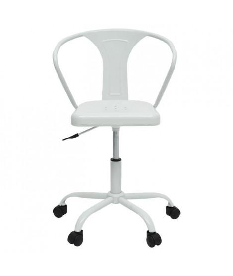 COMETE Chaise de bureau - Métal blanc mat - Industriel - L 35,5 x P 37 cm