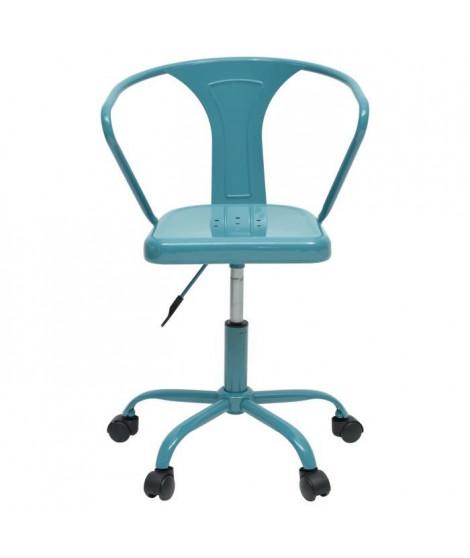 COMETE Chaise de bureau - Métal bleu brillant- Industriel - L 35,5 x P 37 cm