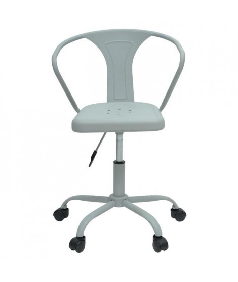 COMETE Chaise de bureau - Métal gris clair mat - Industriel - L 35,5 x P 37 cm