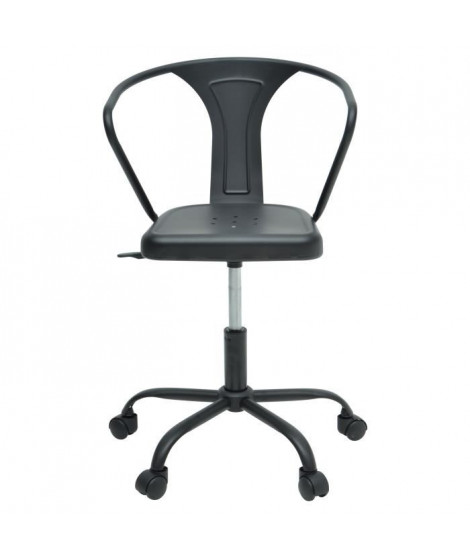COMETE Chaise de bureau - Métal noir mat - Industriel - L 35,5 x P 37 cm