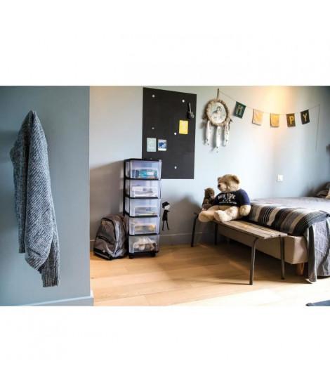EDA PLASTIQUE Tour de rangement - 5 Tiroirs avec roulettes - Noir et naturel - 32 x 37 x 97 cm