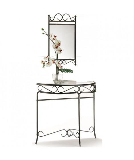 REVA Console et miroir - Métal noir et doré romantique + plateau en verre trempé clair - L 95 et L 43 cm