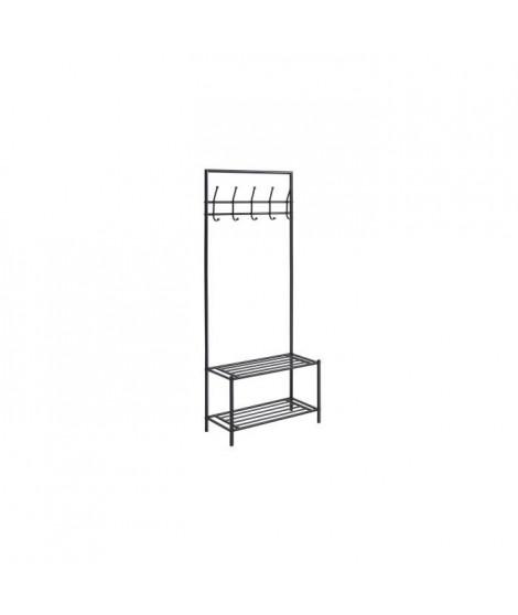 Porte-manteau Charmille 2 - L 66 x P 32 x H 170 cm - Noir - Structure métallique - Finition laquée