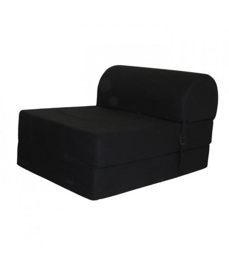 JUNE Chauffeuse 1 place - Tissu noir - Style contemporain - L 58 x P 75 cm