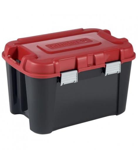 ALLIBERT Malle de rangement Totem - Poignée de transport - Fond renforcé - Noir et rouge - 60 L