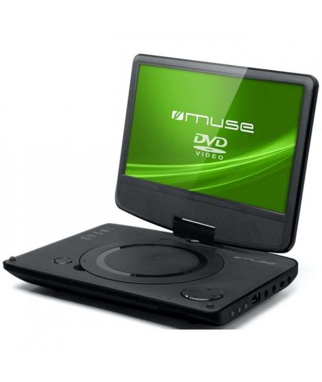 """MUSE M970DP Lecteur DVD portable - Écran 9"""" pivotant a 180° et rabattable - Port USB - Noir"""