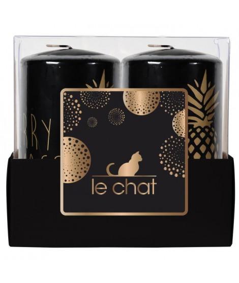 LE CHAT Barquette de 2 bougies de Noël - Tete plate - Ø 4,8 x H 9 cm - Noir avec sérigraphie ananas or chaud