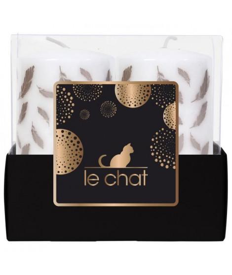 LE CHAT Barquette de 2 bougies de Noël - Tete plate - Ø 4,8 x H 9 cm - Blanc avec sérigraphie plume rose doré