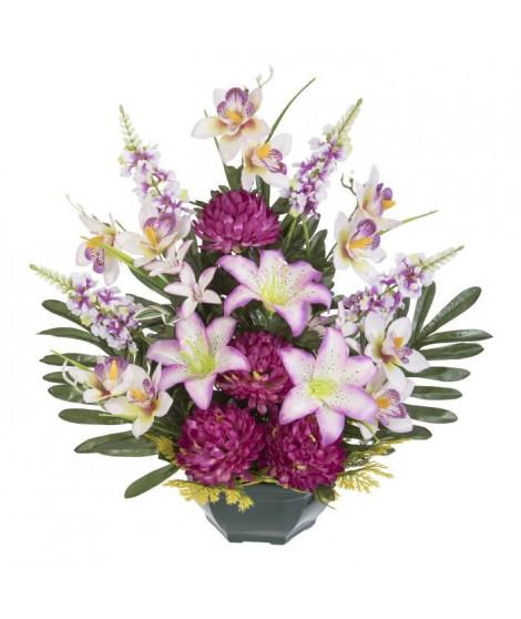 UNE FLEUR EN SOIE Fronton chrysanthemes, lys, orchidées et lilas - 52 cm