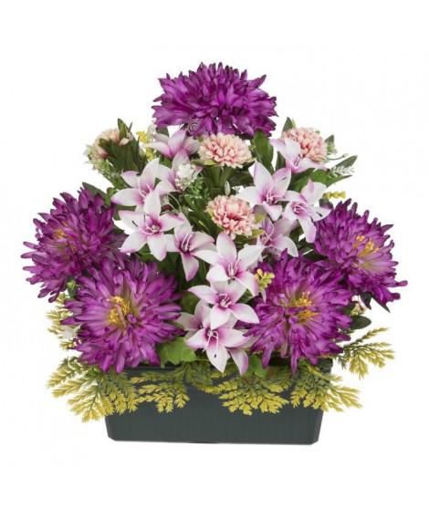 UNE FLEUR EN SOIE Jardiniere dahlias, lys et pomponnettes - 37 cm