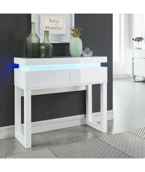 FLASH Console avec LED style contemporain blanc laqué brillant - L 90 cm