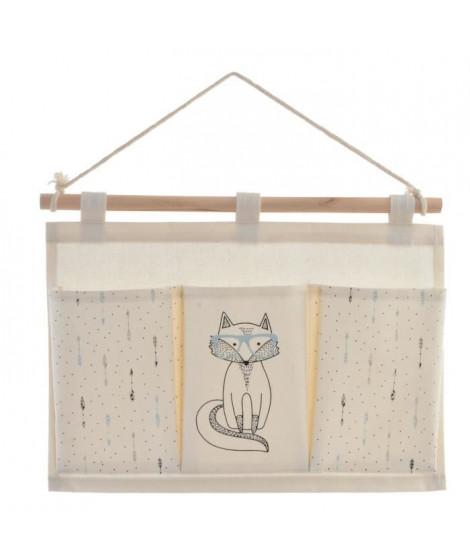 Organisateur en bois et polyester a suspendre - Pour enfant - 3 compartiments - 35 x 1,5 x 53 cm