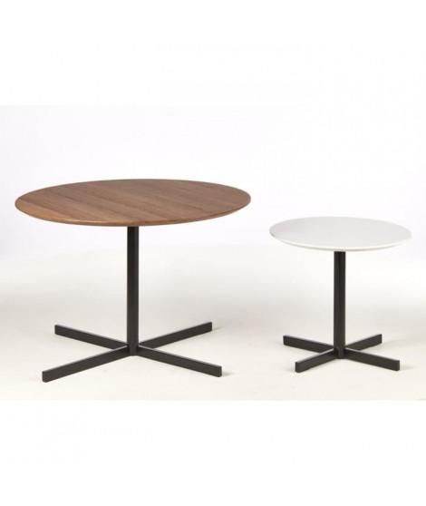 KOLDING 2 Tables basses style contemporain décor blanc brillant et chene avec pieds en métal - L 45 x l 45 cm et L 45 x l 75 cm