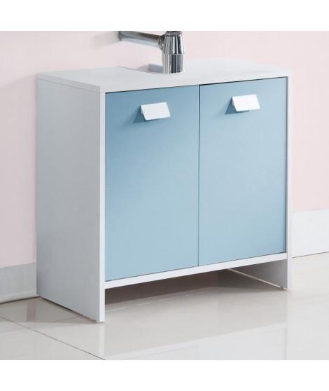 TOP Meuble sous-vasque L 60 cm - Blanc et bleu mat