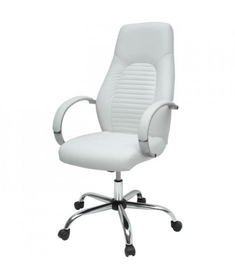 FLAT Chaise de bureau - Simili blanc - Style industriel - L 60 x P 47 cm