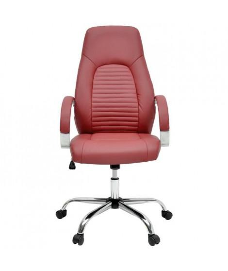 FLAT Chaise de bureau - Simili rouge bordeaux - Style industriel - L 60 x P 47 cm