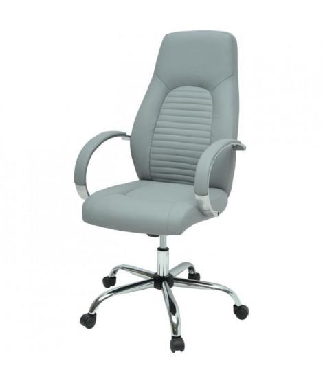 FLAT Chaise de bureau - Simili gris - Style industriel - L 60 x P 47 cm