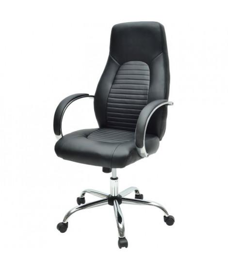 FLAT Chaise de bureau - Simili noir - Style industriel - L 60 x P 47 cm