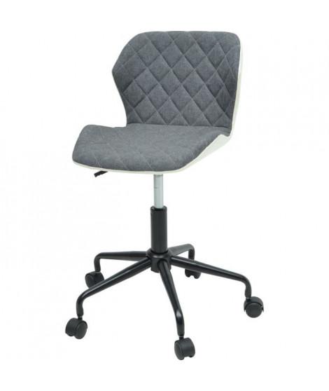 SQUATE Chaise de bureau - Tissu et simili gris foncé - Style industriel - L 42 x P 35 cm