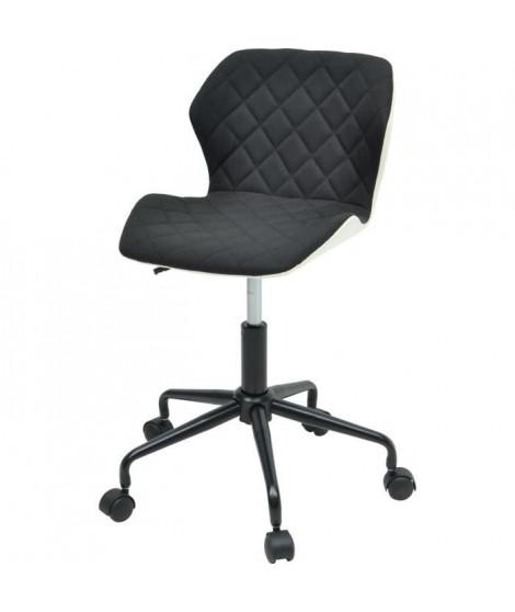 SQUATE Chaise de bureau - Tissu et simili noir - Style industriel - L 42 x P 35 cm