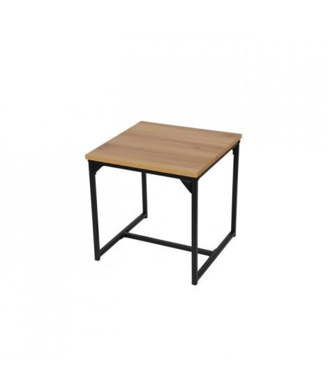 FINLANDEK Bout de canapé TEOLLINEN industriel effet bois + Pieds métal noir - L 55 cm