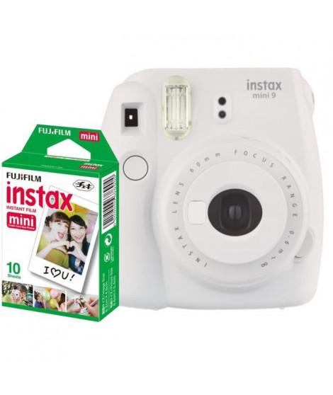 FUJIFILM Appareil photo Instantané Instax Mini 9 Blanc + Film de couleur 10 poses