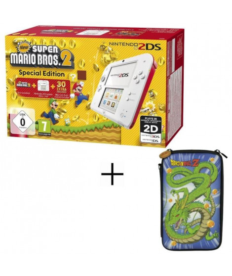 2DS + New Super Mario 2 + Housse 2DS Konix Dragon Ball Shenron