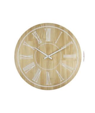 Horloge murale effet bois - MDF - Ø60x4 cm - Style classique et industriel - 1 pile LR06 (AA, 1,5V) non fournie