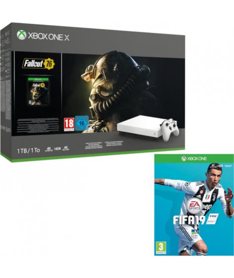 Xbox One X 1 To Fallout 76 Edition limitée Robot White + Fifa 19