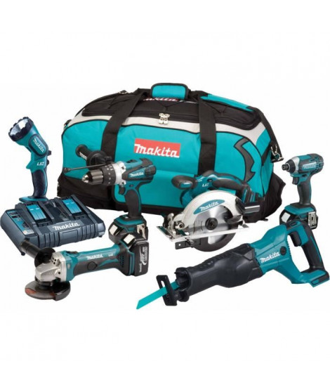 MAKITA Pack de 6 machines DLX6072PT - 3 batteries 18 V 5 Ah Li-ion - Chargeur double - Sac de transport