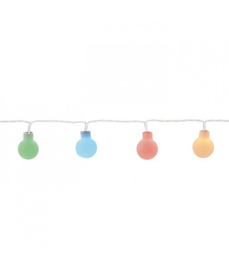 Guirlande micro-LED - 6 m - Rouge, vert et bleu - 60 LED - Câble blanc