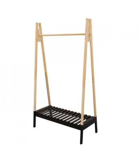 THE HOME DECO FACTORY Portant a vetement en bois - 100 x 46 x 170 cm - Noir