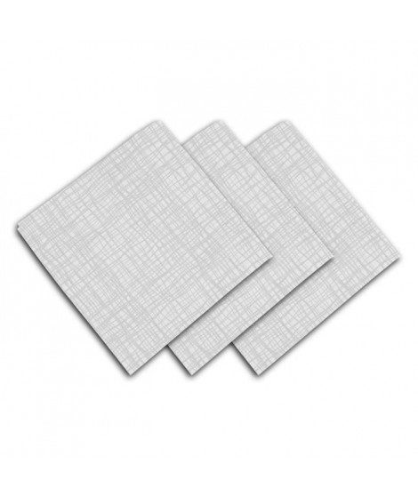 SOLEIL D'OCRE Lot de 3 serviettes de table - Galaxy -  45x45 cm - Blanc