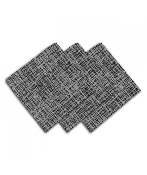 SOLEIL D'OCRE Lot de 3 serviettes de table - Galaxy - 45x45 cm - Noir