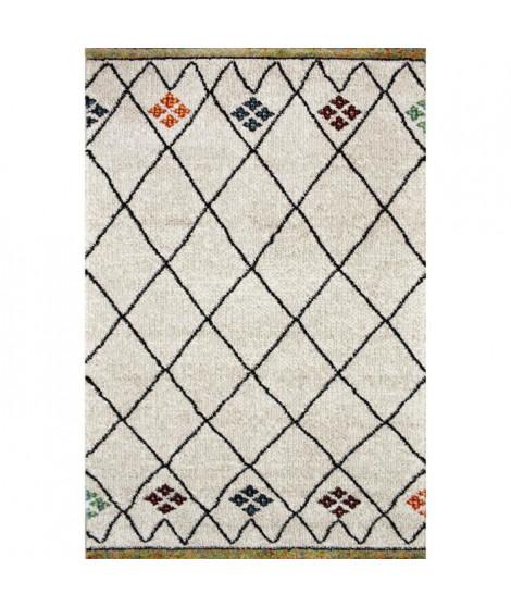 TOUAREG Tapis de couloir style berbere - 80 x 300 cm - 100% polypropylene - Beige creme et multicolore