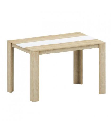 DAMIA Table a manger de 4 a 6 personnes style contemporain décor chene et blanc - L 120 x l 80 cm