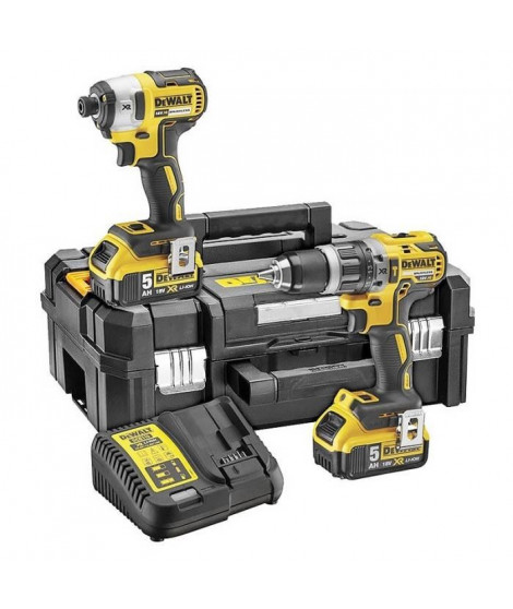 DEWALT Perceuse visseuse a percussion DCK266P2T - Visseuse a chocs - 2 batteries 5 Ah Li-ion - Coffret Tstak