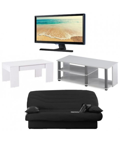 Ensemble banquette clic-clac + TV SAMSUNG Full HD + meuble TV + table basse transformable