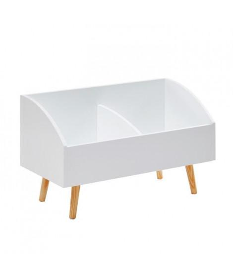 NEVA Coffre a jouets scandinave blanc laqué mat + pieds en bois pin massif - L 70 cm
