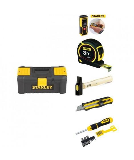 STANLEY Boîte a outils + Mesure laser + Ruban a mesurer + Marteau rivoir + Cutter 18 mm 0-10-417 + Tournevis porte-embout a c…