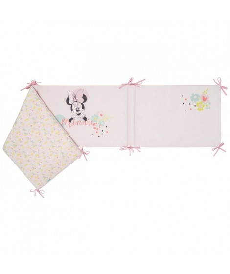 DISNEY Tour de lit adaptable Minnie Floral - Velours 100% polyester - 40 x 180 cm lacet