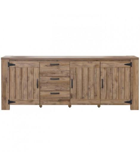 CAMPAGNE Enfilade classique décor ton bois - L 219,5 cm