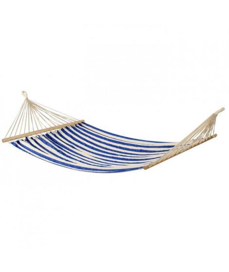 Hamac classique Bocarnea - 100 x 200 cm - Coton 300 mg - Rayures bleu et blanches
