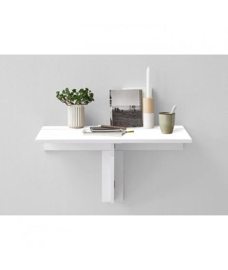 ARTA Table a manger pliante 1 personne classique décor blanc brillant - L 80 x l 51 cm