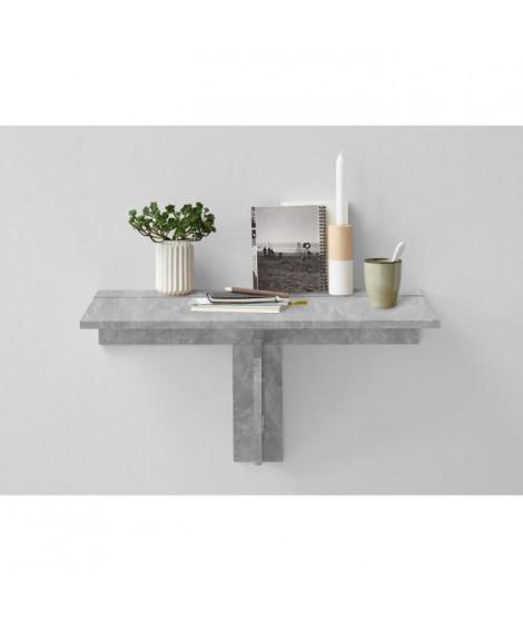 ARTA Table a manger pliante 1 personne classique décor béton gris - L 80 x l 51 cm