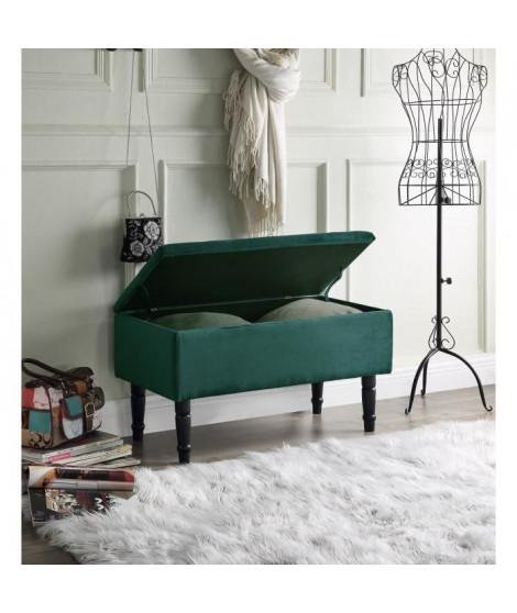 EMILIE Banc avec coffre de rangement - Velours vert canard - Classique - L 80 x P 43,5 cm