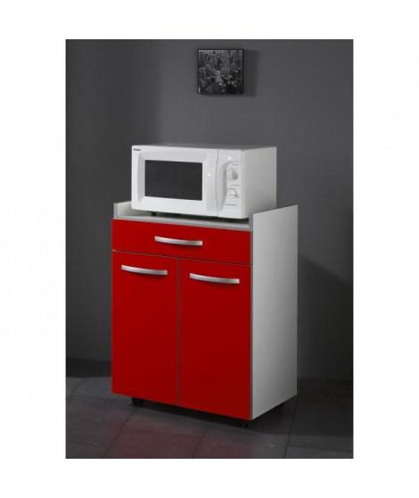 HARMONY Meuble bas micro-ondes L 60 cm - Rouge mat