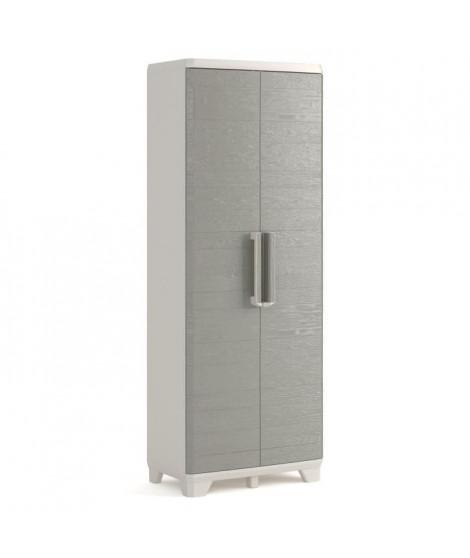 KETER Armoire haute de rangement - Wood Grain - Texture bois  - 2 portes - 3 étageres - pieds  ajustables - verouillable - Gris